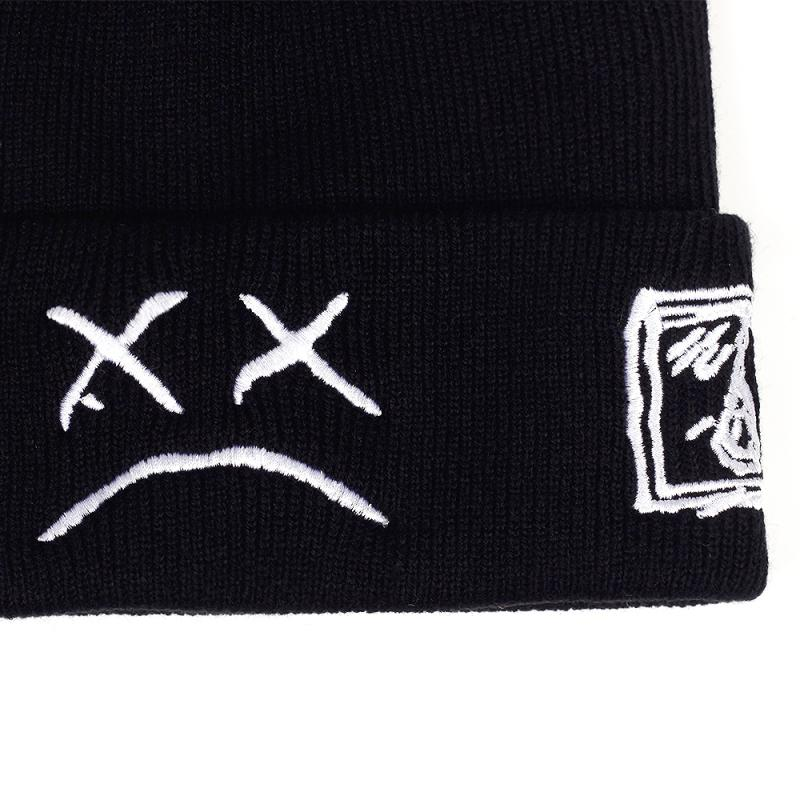 autumn winter warm beanie hats Crying face Embroidery Lil Peep beanie caps Men women Sad boy face knitted hats hip hop hats