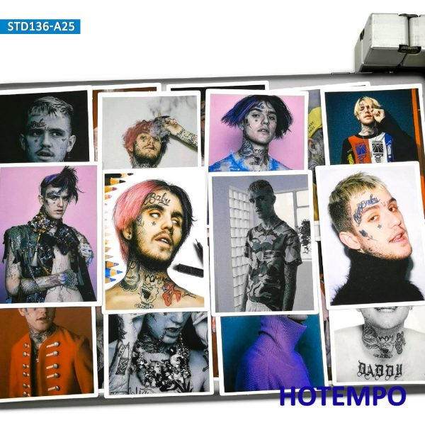 25pcs Rapper Star Lil Peep Part One Art Posters Style Fashion Stickers for Mobile Phone Laptop Luggage Skateboard Decal Stickers