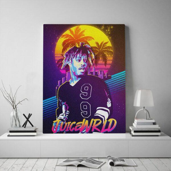 Juice WRLD Rapper Poster Framed Canvas wooden frame Painting Wall Art Decor Living Room Bedroom Study Home Decoration Prints