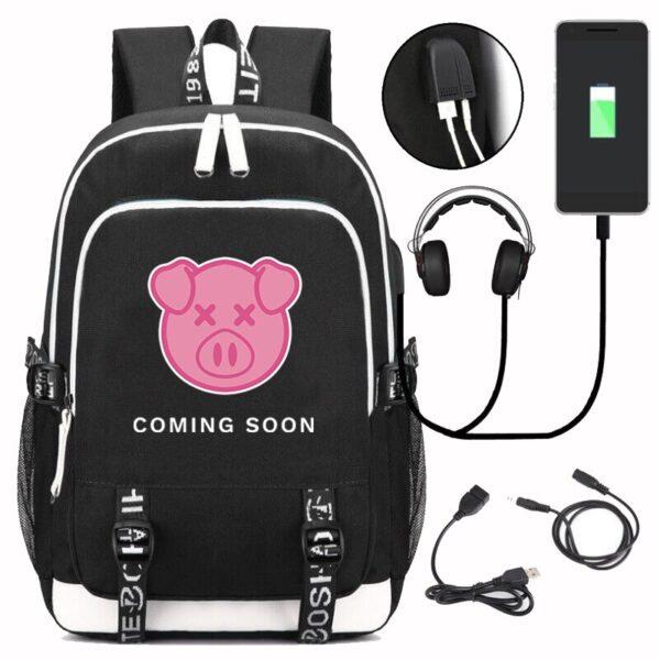 Large Capacity Shane Dawson Bag with USB Charging Travel Black and Navyblue Backpack Boy Kawaii Pig Backpack Student School Bags