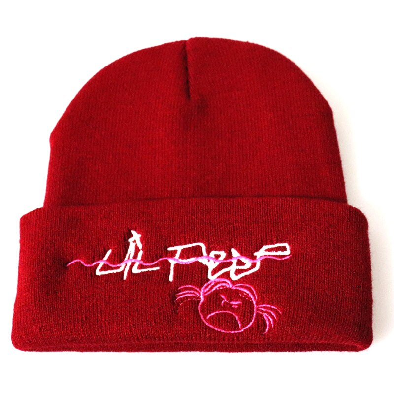 Women knit Embroidery Beanies Skullies Hats for Men Winter Autumn Warmer lil peep Slouch Beanies Acrylic Hat Gorros mujer