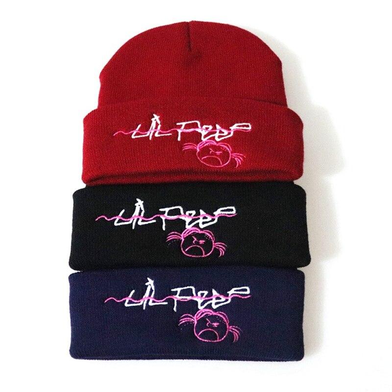 Lil Peep Beanie Embroidery Men Women Knit Cap Knitted Hat Skullies Warm Winter Unisex Ski Hip Hop Hat