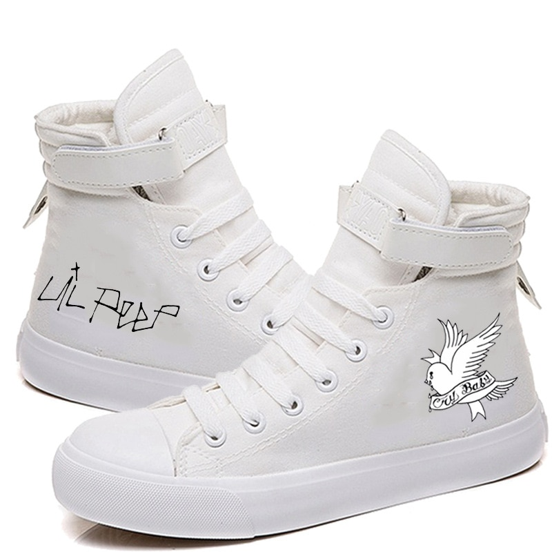 Lil Peep Canvas Shoes for Women Lace Up Spring Women Printed Sneaker Shoes Causal High Heel Fashion Sneakers Lovers Shoes