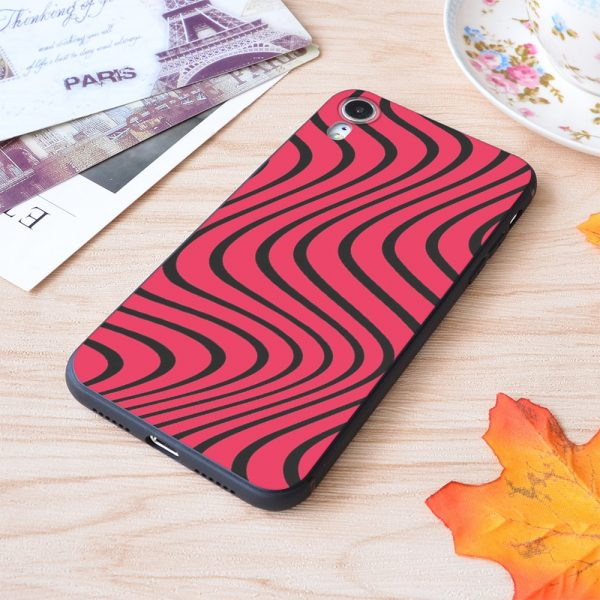 Psychedelic Red Black Pewdiepie Wave Pattern Print Soft Silicone Matt Case For Apple iPhone Case