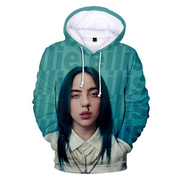 Billie Eilis Print Hoodie Women/Men Long Sleeve Hooded Sweatshirt Casual Fashion Street Style Hoodie Academia Clothing Autumn