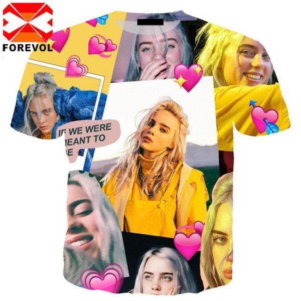 Billie hip hop punk t shirt 3d print star cosplay Eilis homme Short Sleeve T-Shirt for men women tops T-Shirt Funny streetwear