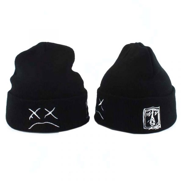 White Black Beanie Embroidery