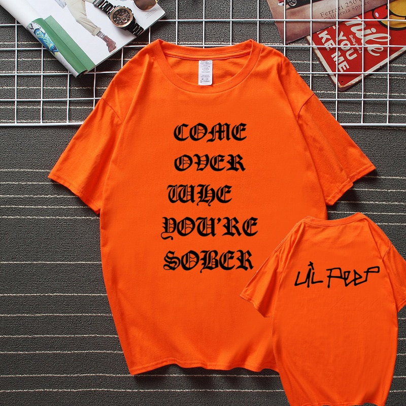Lil Peep Come Over When You're Sober Tour Concert Vtg Reprint T shirt New Summer Streetwear Camisetas Top Cotton Tshirt Men