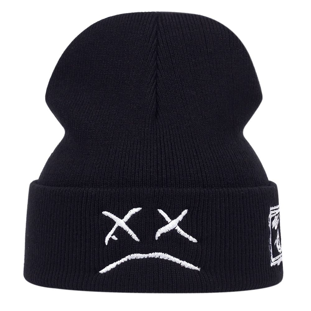 Crying face Embroidery Lil Peep beanie cap Men's and women Sad boy face knitted hats for winter hip hop beanies fashion ski hats
