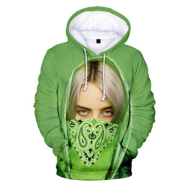 Hot Sale Billie Eilis Hoodie Women/Men Long Sleeve Hooded Sweatshirt Casual Fashion Street Style Hoodie Teens Academia Clothing