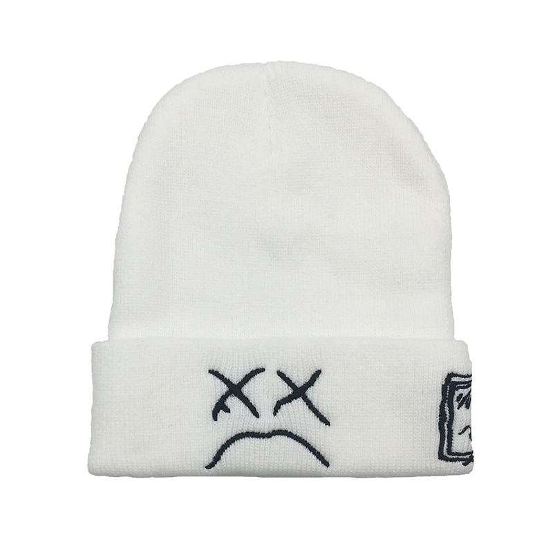 Embroidery Lil Peep beanie cap xxxtentacion Men's and women Sad boy face knitted hat for winter hip hop beanies fashion ski hat