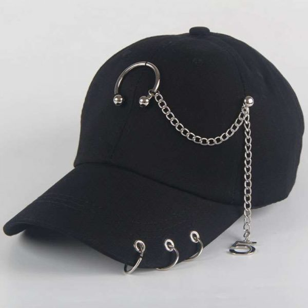 Fashion hip hop cotton baseball cap BTS Creative Piercing Ring Caps Punk Adult Casual Solid Adjustable Unisex hat Snapback hats
