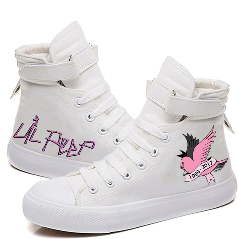 lil peep printed Canvas Shoes Women Casual High-Top Flat Printing Shoes Sneakers