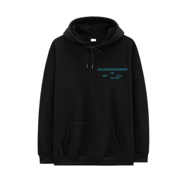 Casual Post Malone Hoodie Men Fleece Hooded Sweatshirts Hollywood'S Bleeding Letter Print Hoodies Streetwear Hip Hop Male Hoody