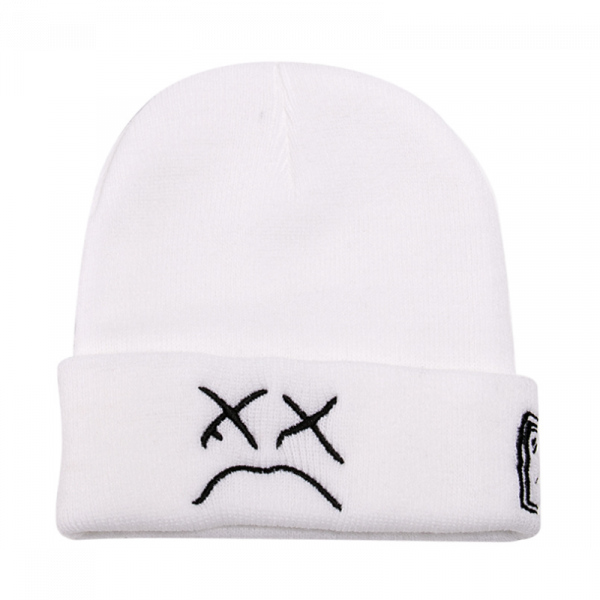 New High Quality Embroidery Lil Peep Beanie Cap Sad Boy Face Knitted Hat For winter Hip Hop Beanies Fashion Ski Hats Unisex