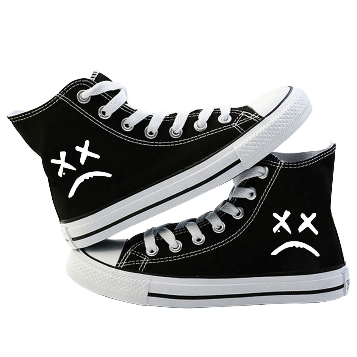 2020 Lil Peep Canvas Shoes For Women Causal High Heel Lace Up Spring Men Shoes Kpop Print Sneaker Vulcanize Sneakers Shoes