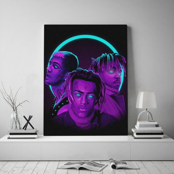 RIP Juice Wrld XXXtentacion Lil Peep Poster Framed Canvas Wall Art Decor Living Room Home Decoration Wooden frame Painting
