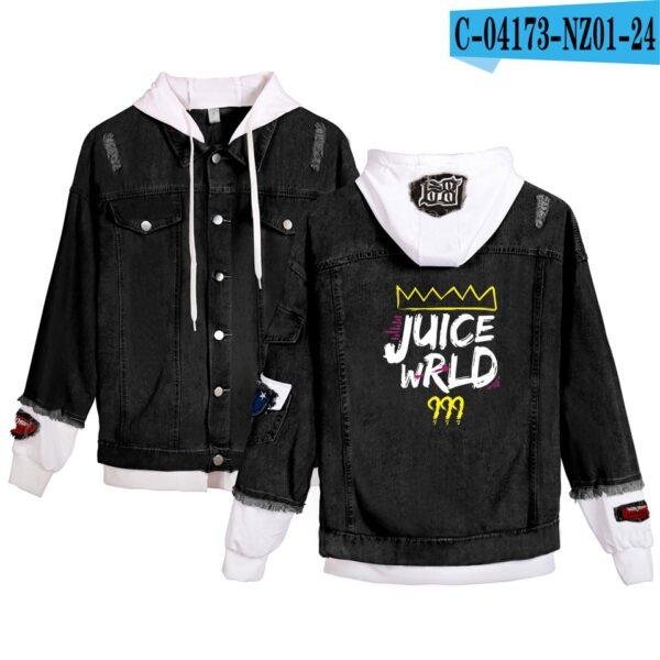 Men's denim jackets Juice Wrld Simple Leisure hooded Denim Wear student Popular Stitching Black Coats Juice Wrld Jacket Hoodie