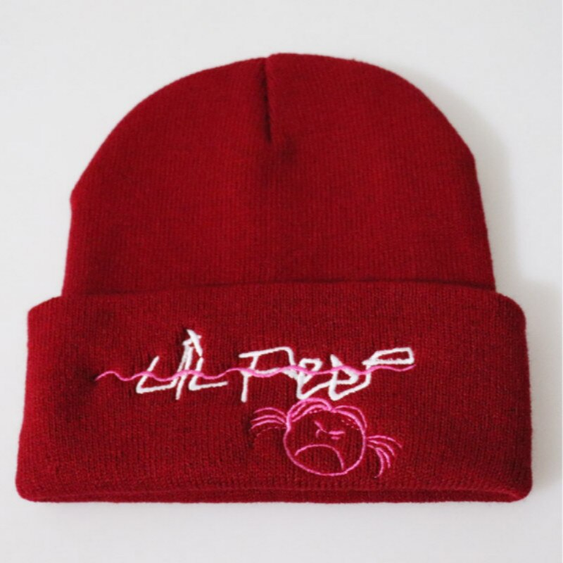 Embroidery Lil Peep Winter Hat For Women Girl The Rapper xxxtentacion Love Lil.peep Knitted Hat Cap Hiphop Warm Skullies Beanie