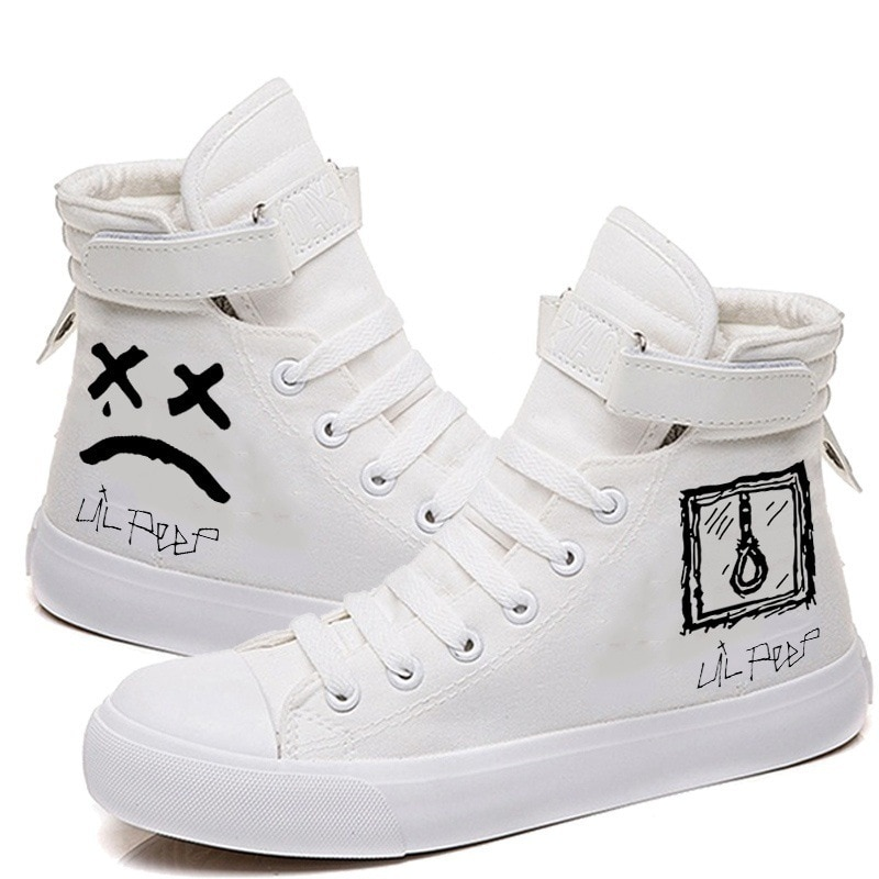 Canvas Shoes Singer Lil Peep Printed High-top Shoes Casual Cozy Breathable Sneakers For Women And Men