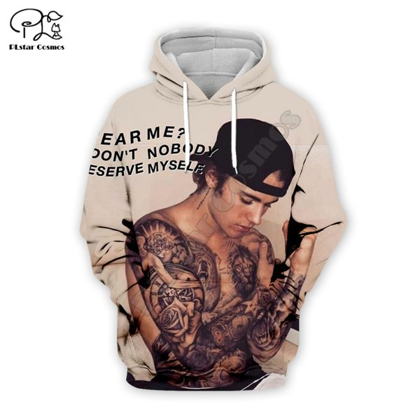 Fashion Justin Bieber hoodies 3D printed Sweatshirt Hoodie Harajuku Autumn Streetwear women foe men Casual Tracksuit style-3