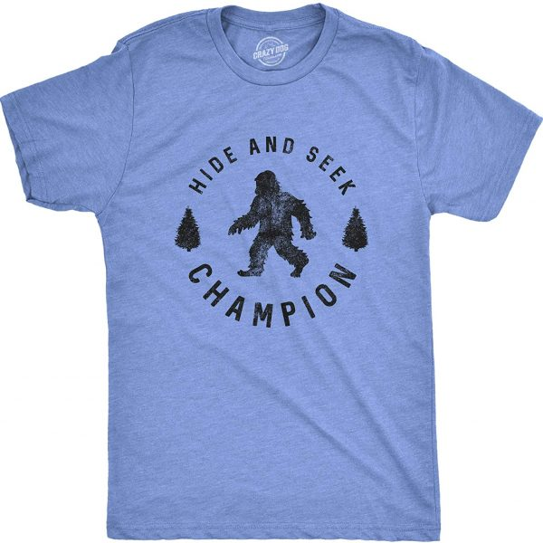 Mens Hide and Seek Champion T Shirt Funny Bigfoot Tee Humor Cool Graphic Print