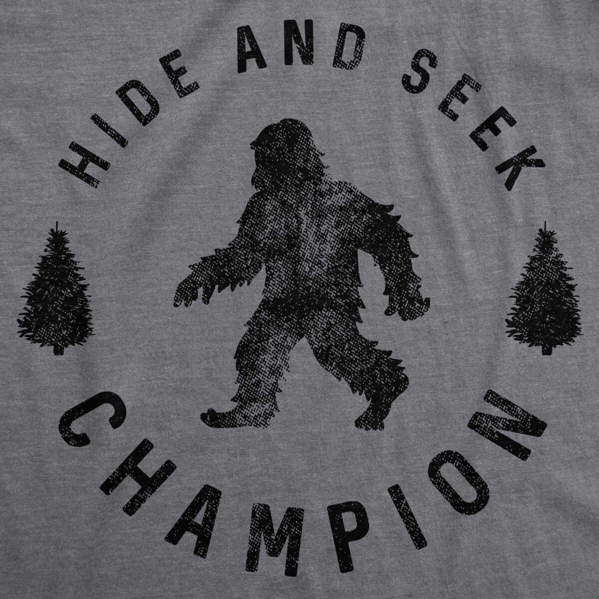 Womens Hide and Seek Champion T Shirt Funny Bigfoot Sasquatch Vintage Graphic