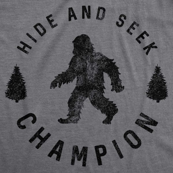 Womens Hide and Seek Champion T Shirt Funny Bigfoot Sasquatch Vintage Graphic